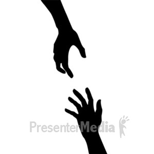 ID# 20643 - Helping Hand Silouette - Presentation Clipart