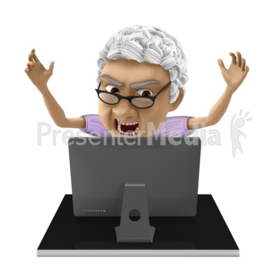 Bernice Frustrated Computer PowerPoint Clip Art