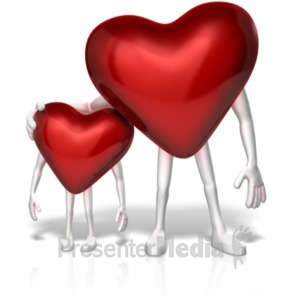 ID# 20672 - Big Heart Shows Compassion to Small One - Presentation Clipart