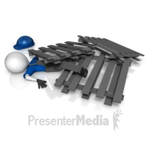 ID# 20673 - Worker Trapped Under Pallets - Presentation Clipart
