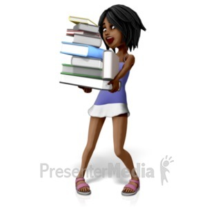 ID# 20705 - Jada Carrying Many Books - Presentation Clipart