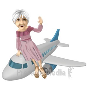 ID# 20736 - Martha Riding Airplane - Presentation Clipart