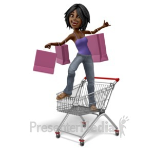 ID# 20737 - Jada Standing In Shopping Cart - Presentation Clipart