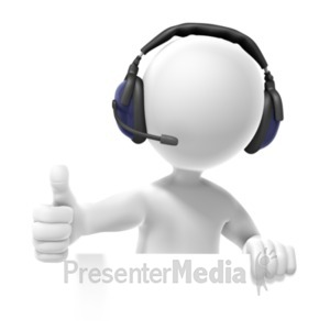 ID# 20804 - Figure Headset Thumbs Up - Presentation Clipart
