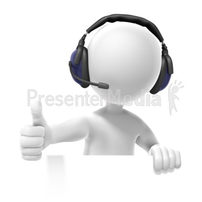 Figure Headset Thumbs Up PowerPoint Clip Art