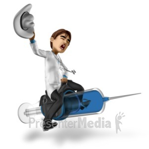 ID# 20806 - Doctor Simon Riding Syringe - Presentation Clipart