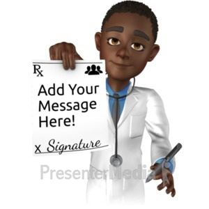 ID# 20842 - Doctor Ethan Holding Rx Paper - Presentation Clipart