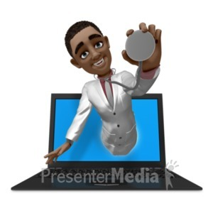 ID# 20844 - Ethan Doctor Out Of Laptop - Presentation Clipart