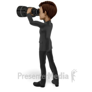 ID# 20847 - Looking Ahead Binoculars - Presentation Clipart