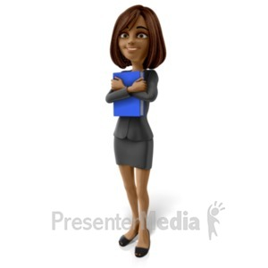 ID# 20932 - Talia Standing Holding Book - Presentation Clipart
