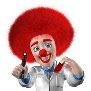 ID# 20950 - Clown Doctor Saying Open Up Say Ahh - Presentation Clipart