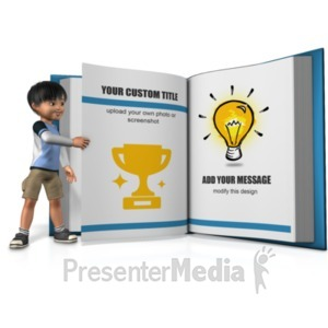 ID# 20959 - Boy Turning A Custom Page - Presentation Clipart