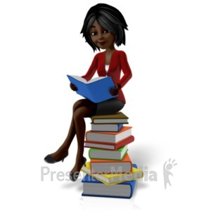 ID# 20962 - Talia Sitting On Pile Of Books - Presentation Clipart