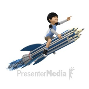 ID# 20972 - Boy On Pencil Rocket - Presentation Clipart