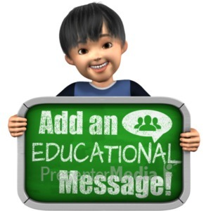 ID# 21018 - Boy Holding Custom Chalkboard Sign - Presentation Clipart