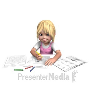 ID# 21028 - Sally Doing Homework - Presentation Clipart