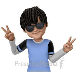 ID# 21039 - James Cool Peace Sign - Presentation Clipart
