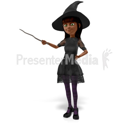 Nice Witch Presenting To The Side PowerPoint Clip Art