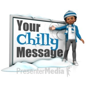 ID# 21108 - Girl In Scarf Next To Message Board - Presentation Clipart
