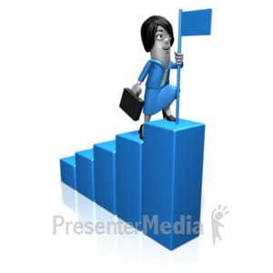 ID# 21144 - Biz Woman Bar Graph Flag - Presentation Clipart