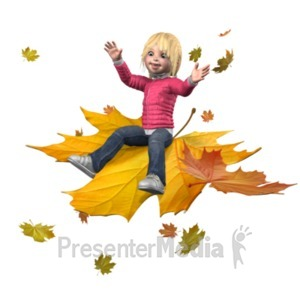 ID# 21154 - Sally Ride The Leaves - Presentation Clipart