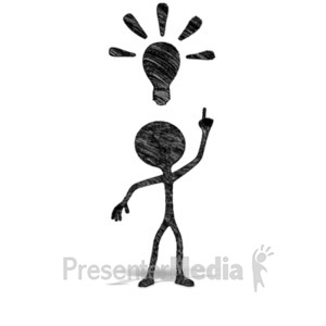 ID# 21160 - Drawn Figure Bright Idea - Presentation Clipart