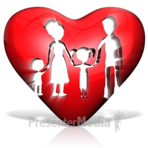 ID# 21186 - Family In Heart - Presentation Clipart