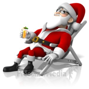 ID# 21204 - Santa At Beach - Presentation Clipart