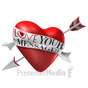 ID# 21330 - Arrow Through Heart - Custom Ribbon - Presentation Clipart