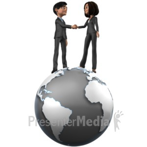 ID# 21364 - Tailia Brad Shake Hands On Top World - Presentation Clipart