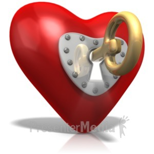 ID# 21368 - Key To Heart - Presentation Clipart