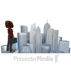 ID# 21387 - Talia Looking Out Over City - Presentation Clipart