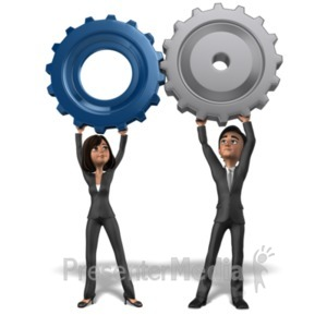 ID# 21395 - Business Team Holding Gears Together - Presentation Clipart
