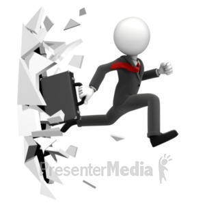 ID# 21403 - Break Through Figure - Presentation Clipart