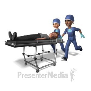 ID# 21432 - Medical Team Pushing Gurney - Presentation Clipart