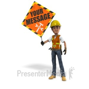ID# 21499 - Construction Worker Holding Sign - Presentation Clipart