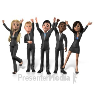 ID# 21504 - Group Buisness People Cheer - Presentation Clipart