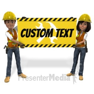 ID# 21567 - Male Female Construction Sign Custom - Presentation Clipart