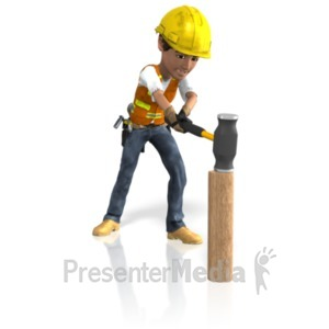 ID# 21574 - Construction Guy Sledgehammer - Presentation Clipart