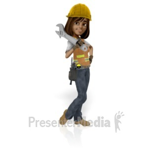 ID# 21575 - Female Construction Worker - Presentation Clipart