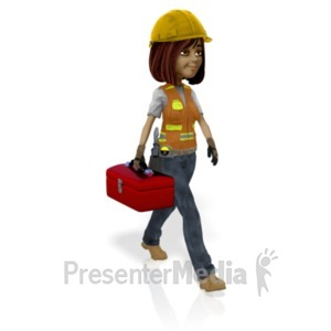 ID# 21577 - Female Construction Worker Toolbox - Presentation Clipart