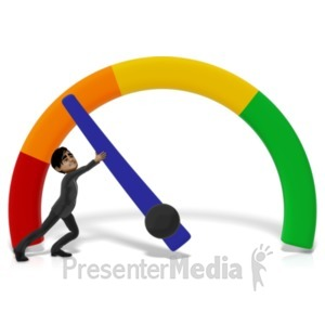 ID# 21591 - Businessman Stopping Gauge - Presentation Clipart
