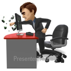 ID# 21593 - Businessman Punch Screen - Presentation Clipart