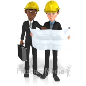 ID# 21606 - Businessmen Plans Contruct - Presentation Clipart