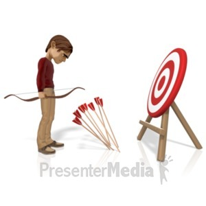 ID# 21676 - Man Miss Target With Arrows - Presentation Clipart