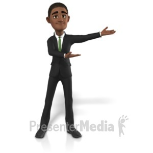 ID# 21685 - Businessman Gesturing To Side - Presentation Clipart
