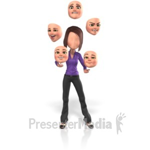ID# 21733 - Yolanda Juggle Faces - Presentation Clipart