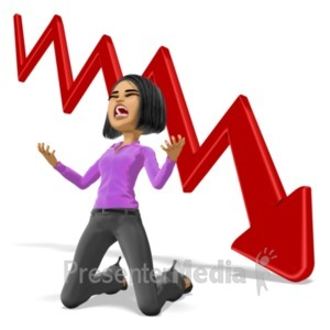 ID# 21747 - Business Woman Despair Graph - Presentation Clipart