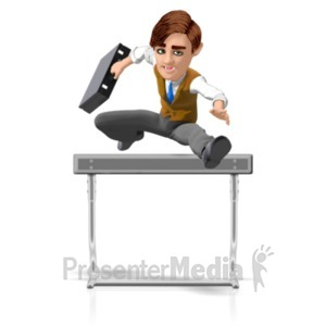 ID# 21758 - Businessman Briefcase Hurdle - Presentation Clipart
