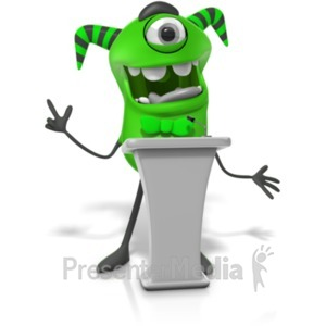 ID# 21797 - Monster Behind Podium - Presentation Clipart
